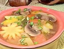 Легкий овочевий суп з печерицями! Дієтичний обід вихідного дня! - рецепт
